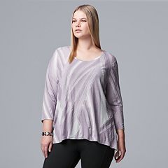 Plus Size Simply Vera Vera Wang Textured Asymmetrical Top