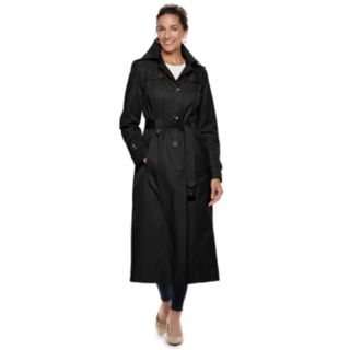 Women's TOWER by London Fog Hooded Long Trench Coat