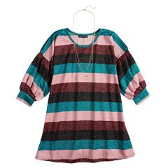 Girls 7-16 My Michelle Glitter Bubble Sleeve Striped Dress