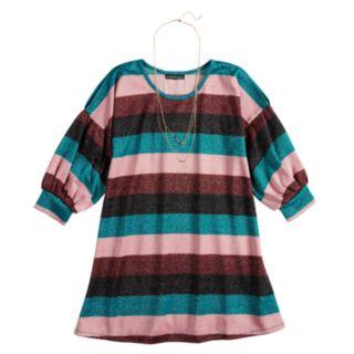Girls 7-16 My Michelle Glitter Bubble Sleeve Striped Dress