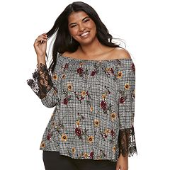 Juniors' Plus Size Liberty Love Floral Off-the-Shoulder Top