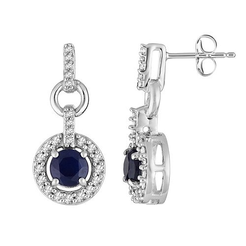 10k White Gold Sapphire & 1/5 Carat T.W. Diamond Halo Drop Earrings