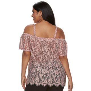 Juniors' Plus Size Liberty Love Floral Lace Off-the-Shoulder Top