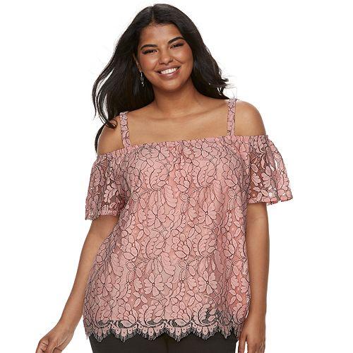 85a9a5854878a Juniors  Plus Size Liberty Love Floral Lace Off-the-Shoulder Top