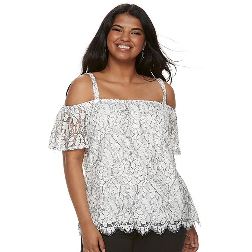 Juniors' Plus Size Liberty Love Floral Lace Off-the-Shoulder Top
