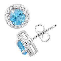 10k White Gold Swiss Blue Topaz & 1/6 Carat T.W. Diamond Halo Stud Earrings