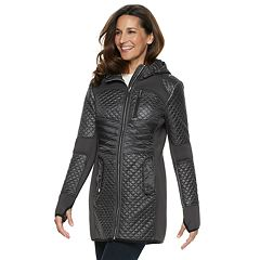Women's TOWER by London Fog Hooded Quilted Mixed-Media Jacket