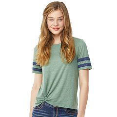Juniors' Wallflower Twisted Varsity Striped Tee