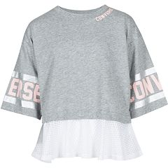 Girls 7-16 Converse Reflective Faux Layered Short Sleeve Top