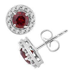 10k White Gold Garnet & 1/6 Carat T.W. Diamond Halo Stud Earrings