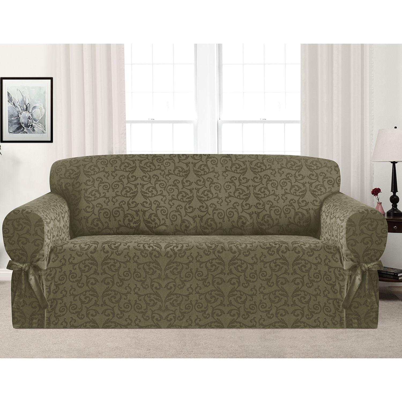 Kathy Ireland Americana Sofa Slipcover. Green Natural Brown. Sale