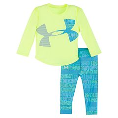 Baby Girl Under Armour Logo Tee & Print Leggings Set