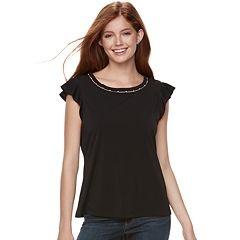 Juniors' Candie's® Simulated Pearl-Trim Flutter Tee