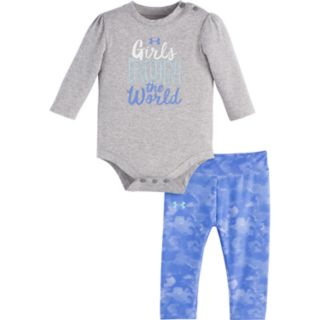 "Baby Girl Under Armour ""Girls Run The World"" Graphic Bodysuit & Cloud Leggings Set"