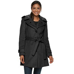 Women's TOWER by London Fog Hooded Belted Wool Blend Coat
