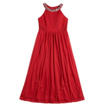 Girls 7-16 My Michelle Embellished Halter Maxi Dress