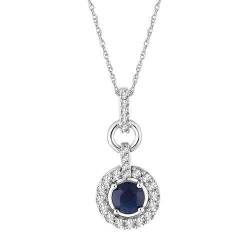 10k White Gold Sapphire  & 1/3 Carat T.W. Diamond Halo Pendant Necklace