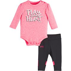 Baby Girl Under Armour 'Play With Heart' Graphic Bodysuit & Colorblock Leggings Set