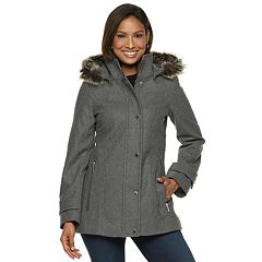 Women's TOWER by London Fog Faux-Fur Trim Wool Blend Coat
