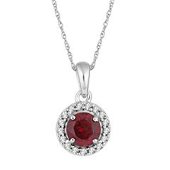10k White Gold Garnet & 1/10 Carat T.W. Diamond  Halo Pendant Necklace
