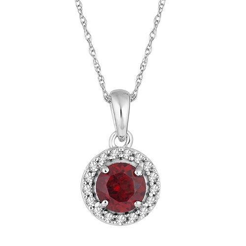 10k White Gold Garnet & 1/10 Carat T.W. Diamond  Halo Pendant Necklace