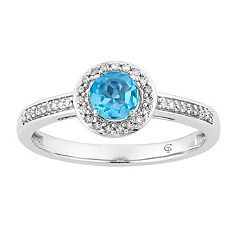 10k White Gold Swiss Blue Topaz & 1/6 Carat T.W. Diamond Halo Ring
