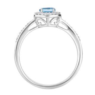 10k White Gold Swiss Blue Topaz & 1/6 Carat T.W. Diamond Halo Ring