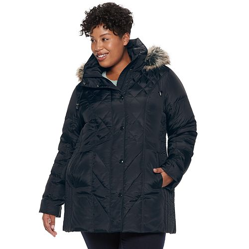Plus Size TOWER by London Fog Hooded Faux-Fur Down Puffer Coat
