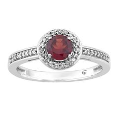 10k White Gold Garnet & 1/6 Carat T.W. Diamond Halo Ring