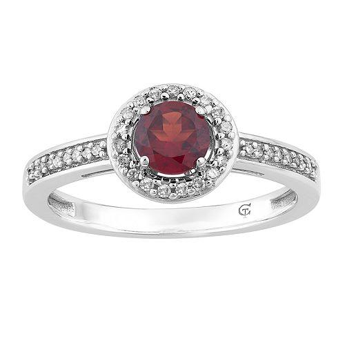 10k White Gold Garnet & 1/6 Carat T.W. Diamond Halo Ring