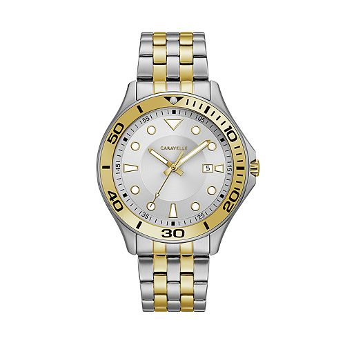 Caravelle Men's Two Tone Stainless Steel Dive Style Watch - 45B151