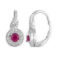 10k White Gold Ruby & 1/5 Carat T.W. Diamond Leverback Earrings