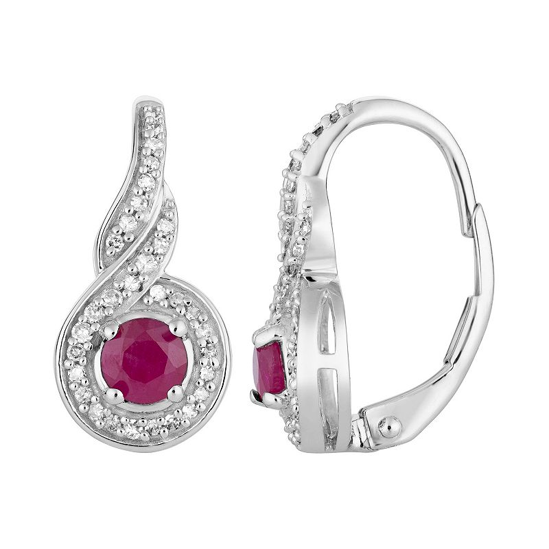 10k White Gold Ruby & 1/5 Carat T.W. Diamond Leverback Earrings. Women's. Red