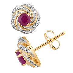 10k Gold Ruby & 1/8 Carat T.W. Diamond Swirl Stud Earrings