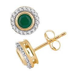 10k Gold Emerald & 1/10 Carat T.W. Diamond Halo Stud Earrings