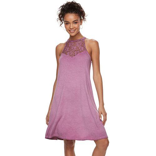 Juniors' Mudd® Lunar Wash High-Neck Swing Dress