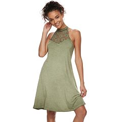 Juniors' Mudd® Lunar Wash High-Neck Swing Dress