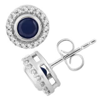 10k White Gold Sapphire & 1/10 Carat T.W. Diamond Halo Stud Earrings