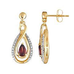 10k Gold Garnet & 1/6 Carat T.W. Diamond Teardrop Earrings