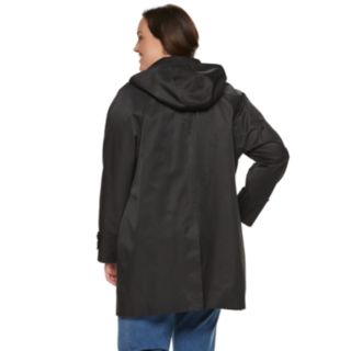 Plus Size TOWER by London Fog Hooded Double Collar Coat