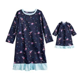 Toddler Girl Jammies For Your Families Skating Flamingos Nightgown & Doll Gown Pajama Set