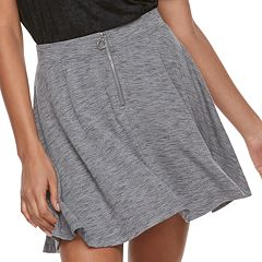 Juniors' SO® Zip Front Skater Skirt