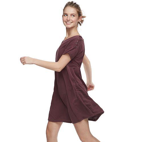296af2db166 Juniors  Mudd® Lace-Up Shoulder Dress