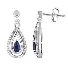 10k White Gold Sapphire & 1/6 Carat T.W. Diamond Teardrop Earrings