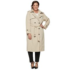 7682590315a Plus Size TOWER by London Fog Double-Breasted Belted Trench Coat. Stone  Black. sale