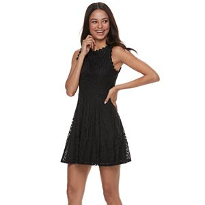 6505f23d5 Sale. $32.99. Original. $48.00. Juniors' Lily Rose Scallop Trim Lace Skater  Dress