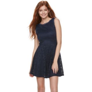 Juniors' Lily Rose Scallop Trim Lace Skater Dress