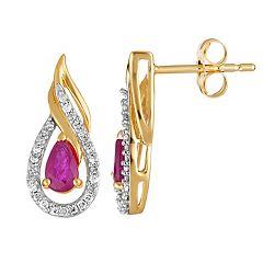 10k Gold Ruby & 1/6 Carat T.W. Diamond Teardrop Earrings