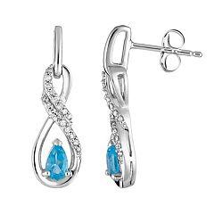 10k White Gold Swiss Blue Topaz & 1/8 Carat T.W. Diamond Infinity Drop Earrings