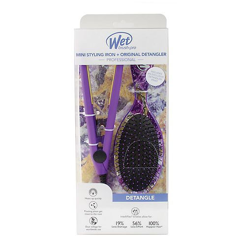 Wet Brush Mini Styling Iron & Original Detangler Hair Brush Set